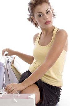 Free Sitting Sexy Woman With Shopping Bag Stock Photography - 7043582