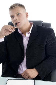 Free Thinking Young Manager Looking Upside Royalty Free Stock Photography - 7043957