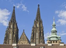 Free St.Vitus Cathedral Towers-Prague Castle Stock Photography - 7044352
