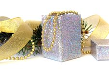 Christmas Tree With Gift Stock Photo