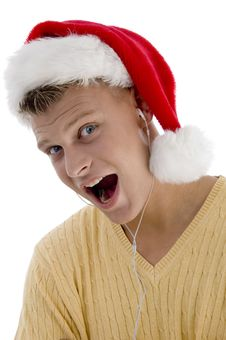 Free Cool Man With Christmas Hat And Canal Phone Royalty Free Stock Photo - 7045495