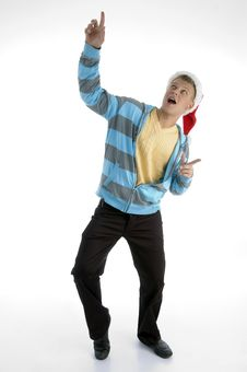 Free Pointing Man With Christmas Hat Stock Photography - 7045532