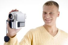 Free Portrait Of Blonde Man With Handy Cam Royalty Free Stock Photo - 7045755