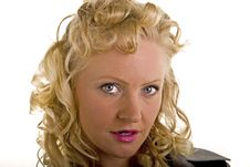 Free Curly Blonde Closeup Bright Eyes Stock Photography - 7046392