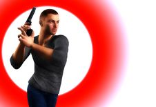Free Undercover Cop With Gun Stock Image - 7046431