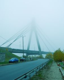 Constructions Are In Fog Royalty Free Stock Photography