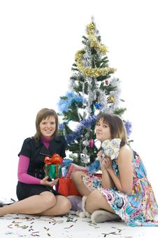 Free The Two Attractive Girls With Gifts Stock Photo - 7048650
