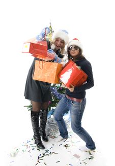 Free The Two Attractive Girls With Gifts Royalty Free Stock Photography - 7048727
