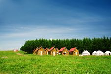 House In Grassland Stock Photos