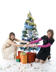 Free The Two Attractive Girls With Gifts Royalty Free Stock Photo - 7048735