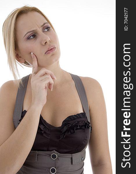 Thinking beautiful woman