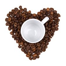 Coffee Bean Heart Made Background Stock Images