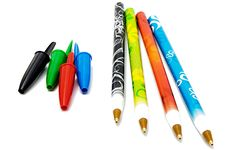 Set Of Four Ballpoints Royalty Free Stock Images