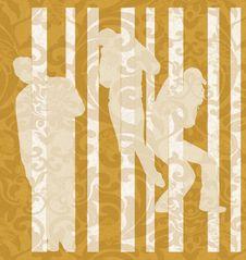 Free Three Silhouettes On Yellow Background Stock Photos - 7050963