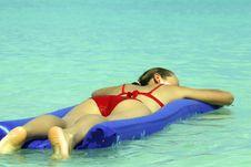 Free Woman Sleeping On An Air Mattress Stock Image - 7051521