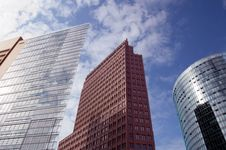 Modern Skyscrapers On Potsdamer Platz, Berlin Stock Photo