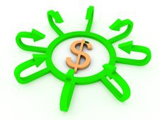 Dollar Sign With Profit Arrows Stock Image