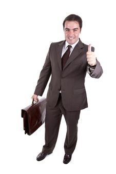 Businessman With His Thumb Up With Brown Case. Stock Images