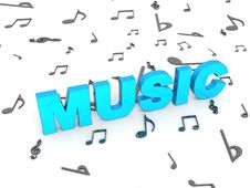 Free Three Dimensional Blue Rendered Music Text Royalty Free Stock Images - 7053289