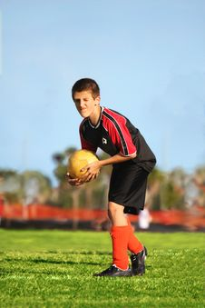 Free Soccer Player Ready To Kick Royalty Free Stock Photos - 7053648