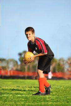 Free Soccer Player Ready To Kick Royalty Free Stock Photos - 7053648