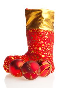 Free Christmas Boot And Red Balls Stock Photography - 7056312