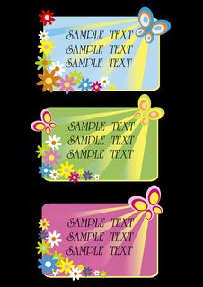 Free Three Floral Cards With Space For Text Stock Photography - 7057282