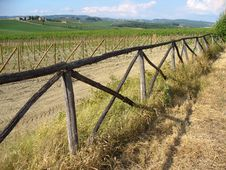 Tuscan Landscape With Fence Royalty Free Stock Images