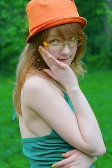 Beautiful Girl In Glasses Royalty Free Stock Images