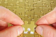 Free Gold Puzzle Royalty Free Stock Image - 7057946