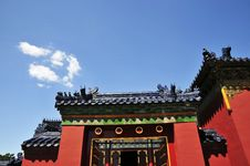 Free Chinese Ancient Building With Red Wall And Glaze Stock Photography - 7058002