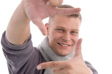 Free Young Male Showing Directing Hand Gesture Stock Photo - 7058200