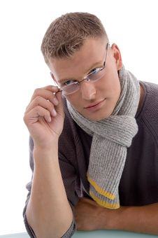 Free Young Male Holding Eyewear Stock Photography - 7058202