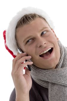 Free Smiling Male With Christmas Hat Royalty Free Stock Photography - 7058487