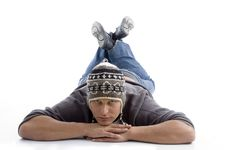 Free Laying Young Man Wearing Winter Cap Royalty Free Stock Photo - 7058515