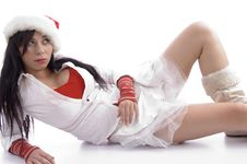 Free Sexy Pose Of Woman Wearing Christmas Hat Royalty Free Stock Image - 7058956