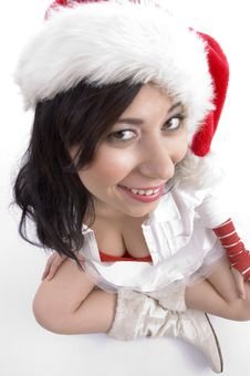 Free High Angle View Of Model With Christmas Hat Stock Image - 7058991