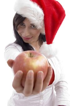 Free Sexy Model With Christmas Hat Showing Apple Stock Photo - 7059000