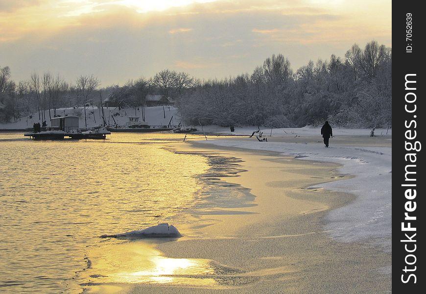 Drava river in winter