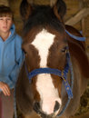 Free Teenage Girl With  Brown And White Horse Stock Image - 7064151