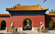 Chinese Ancient Building With Stone Lion Stock Image