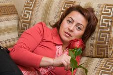 Free Woman With Rose Stock Images - 7061964