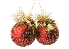 Free Christmas Decoration - Two Balls Isolated On White Stock Photos - 7062213