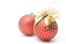 Free Two Red Christmas Balls Stock Photo - 7062320
