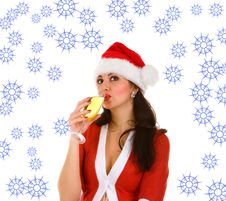 Santa And Goblet With Champaign Royalty Free Stock Photo