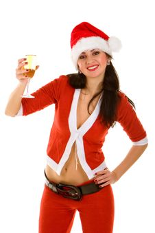 Santa And Goblet With Champaign Stock Image