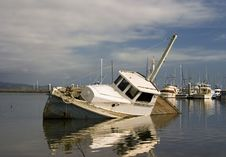 Sunken Boat In Bay Stock Photos
