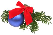 Christmas Balls With Ribbons And Branch Stock Photography