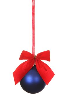 Free Blue Christmas Ball With Ribbons Stock Photos - 7064843