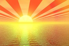 Free Golden Sunset 3d Illustration Stock Photography - 7065712